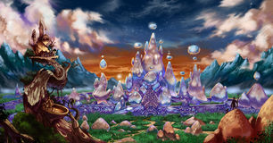 Fantasy city background. A fantasy background describing a dreamlike crystal city Royalty Free Stock Photo