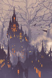 Fantasy city,fairy town with big trees Royalty Free Stock Images