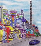 Fantasy on the city of the future. Author`s work. Color pencil, pen. June 2016 stock illustration