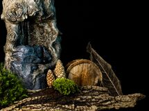 Free Fantasy City In The Woods On Black Background Royalty Free Stock Photo - 219882715