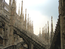 Fantasy city - Rooftops of Duomo Cathedral, Milan, Italy Royalty Free Stock Photo