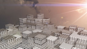 Fantasy city sunrise 3d illustration Stock Photos