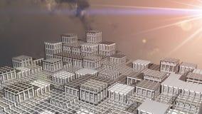 Fantasy city sunrise 3d illustration Stock Photos