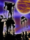 Fantasy with clipping path. Alien scenery with clipping path of the ruins Royalty Free Stock Image