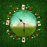 Fantasy clock. Green illustration with hole in the form of clock. Computer graphics Vector Illustration