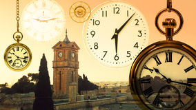 Fantasy clock world landscape royalty free stock photos