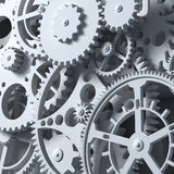 Fantasy clockwork or part of any machine. Closeup gears. Industrial 3d illustration Royalty Free Stock Photos