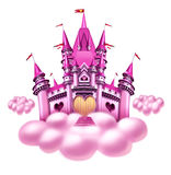 Fantasy Cloud Castle. Fantasy princess cloud castle with a fun pink magical kingdom floating on a fluffy cloud as a toy dream or dreaming of a fairy tale of Royalty Free Stock Photo