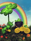 Fantasy clove, rainbow and coins Royalty Free Stock Images