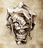 Fantasy clown joker. Sketch of tattoo Stock Image