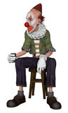 Fantasy clown sitting on a stool Royalty Free Stock Photography