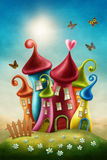 Fantasy colorful houses. And butterflies vector illustration