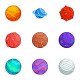 Fantasy colorful planets icons set, cartoon style. Fantasy colorful planets icons set. Cartoon set of 9 fantasy colorful planets vector icons for web isolated on Royalty Free Stock Photos