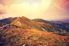 Fantasy and colorfull nature mountains landscape. Royalty Free Stock Photography