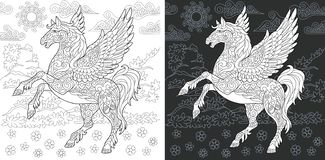 Fantasy Coloring Page. Fantasy. Coloring Page. Coloring Book. Colouring picture with pegasus drawn in zentangle style. Antistress freehand sketch drawing. Vector royalty free illustration