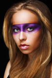 Fantasy. Coloring. Trendy Woman with Shiny Colorful Makeup. Faceart Stock Photography
