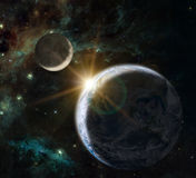 Fantasy composition of the planet Earth and the Moon Royalty Free Stock Image
