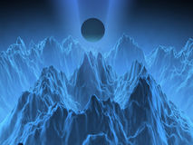 Fantasy computer generated mountains. With an alien sphere Royalty Free Stock Image
