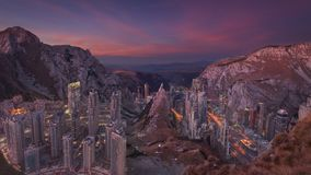 Fantasy concept for futuristic urban visions. Fine art composite of self-contained modern city in the mountains as future concept. Sustainability and reliance on royalty free stock image