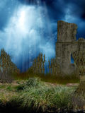 Fantasy corn field. With ruin Royalty Free Stock Images