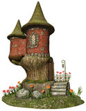 Fantasy cottage with colorful flowers Stock Photos