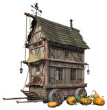 Fantasy cottage on wheels Royalty Free Stock Photo