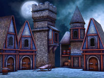 Fantasy cottages at night Royalty Free Stock Photography
