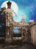 Fantasy courtyard stock illustration