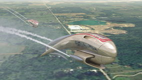 Fantasy craft flying. 3D model of fantasy craft in teardrop pod shape flying over rural landscape stock video