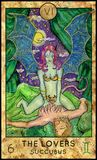 Lovers. Succubus. Fantasy Creatures Tarot full deck. Major arcana. Hand drawn graphic illustration, engraved colorful painting with occult symbols Stock Image