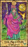 Magician. Warlock. Fantasy Creatures Tarot full deck. Major arcana. Hand drawn graphic illustration, engraved colorful painting with occult symbols stock illustration