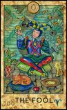 Fool. Joker. Fantasy Creatures Tarot full deck. Major arcana. Hand drawn graphic illustration, engraved colorful painting with occult symbols royalty free illustration