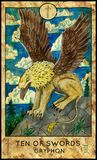 Gryphon. Ten of swords. Fantasy Creatures Tarot full deck. Minor arcana. Hand drawn graphic illustration, engraved colorful painting with occult symbols vector illustration