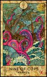 Kraken. Nine of cups. Royalty Free Stock Photography