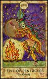 Shaman. Five of pentacles. Fantasy Creatures Tarot full deck. Minor arcana. Hand drawn graphic illustration, engraved colorful painting with occult symbols Vector Illustration