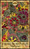 Gremlins. Seven of pentacles. Fantasy Creatures Tarot full deck. Minor arcana. Hand drawn graphic illustration, engraved colorful painting with occult symbols Stock Photo