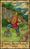 Dwarf. Three of pentacles. Fantasy Creatures Tarot full deck. Minor arcana. Hand drawn graphic illustration, engraved colorful painting with occult symbols Stock Image