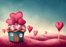 Fantasy cup cake house. With hearts royalty free illustration