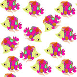 Fantasy cute fish seamless pattern and seamless  background patt Stock Photo