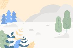 Fantasy cute landscape. Trendy fashion plants, leaves,mountains,sun and nature in minimalistic flat design style. Bushes, trees,. Pines. Vector illustration.Soft vector illustration