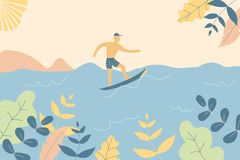 Fantasy cute seaside landscape. Trendy fashion plants, leaves,mountains,sun,sea,surfer and nature in minimal flat design style. Vector illustration.Soft colours stock illustration