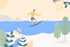 Fantasy cute seaside landscape. Trendy fashion plants, leaves,mountains,sun,sea,surfer and nature in minimalistic flat design. Style. Bushes, trees. Vector vector illustration