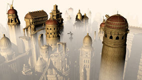 Fantasy 3D city form past to future. 3d render Royalty Free Stock Images