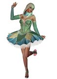 Fantasy dancer. 3D render of a dancing girl in a jester mask Stock Photos