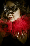 Fantasy dark art, sensual woman with venetian mask, cabaret Royalty Free Stock Photography