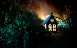 Fantasy decorated photo. Small beautiful house in grass with light. Old house in forest at night with moon. Selective focus Stock Images