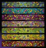 Fantasy decorative floral stripe background set Royalty Free Stock Photography