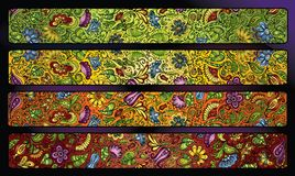 Fantasy decorative floral stripe background set. Vector fantasy decorative floral stripe background set Stock Photography