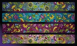 Fantasy decorative floral stripe background set. Vector fantasy decorative floral stripe background set Royalty Free Stock Images