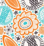 Fantasy decorative pattern in scandinavian style. Abstract background with stylized flowers. Stock Photography
